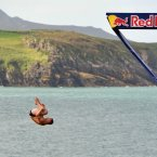 Luxembourg's Alain Kohl dives from the 27 metre-high platform at Blue Lagoon in Pembrokeshire, Wales.