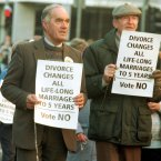 Men campaign for a No vote during the 1995 divorce referendum campaign. Image: Photocall Ireland