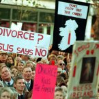 An anti-divorce rally in Dublin on 18 November 1995 ahead of the referendum on the dissolution of marriage. Image: Photocall Ireland