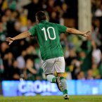 Debutant Robbie Brady celebrates his first senior goal for Ireland against Oman. 