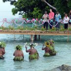Locals wait to greet the Duke and Duchess of Cambridge as they arrive in Marau, Guadacanal Province on their way to Tivanipupu during a visit to the Solomon Islands (Mark Large/Daily Mail/PA Wire)