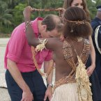 Locals greet the Duke and Duchess of Cambridge in Marau, Guadacanal Province (Mark Large/Daily Mail/PA Wire)