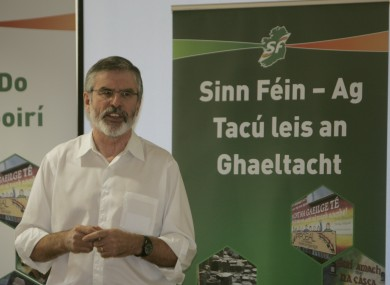 Gerry Adams at the Sinn Féin parliamentary party meeting in north Dublin today