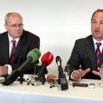 Ulster rugby officals, Chief Executive Shane Logan (left) and Director of Rugby David Humphreys speak at a press conference at Ravenhill yesterday.