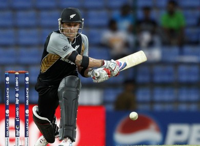 New Zealand batsman Brendon McCullum plays a reverse sweep during the ICC Twenty20 Cricket World Cup match against Bangladesh.