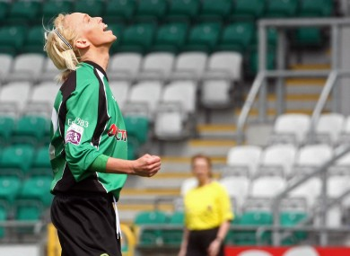 Peamount's Stephanie Roche celebrates scoring the first goal of the National League Cup Final against Shamrock Rovers last May.