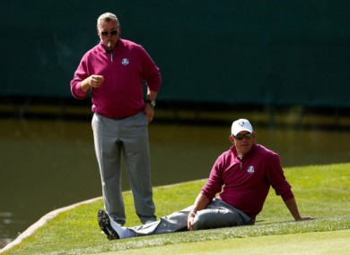 Good friends Darren Clarke and Lee Weswood.