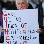 Long serving staff members at Guineys, Alex Bermingham, protests outside Clerys on O'Connell Street over the way the new owners, Gordon Brothers, have treated staff in the outlets they have already closed including Guiney's in Blanchardstown, Naas and Sandyford, and their decision to close the company's pension scheme. Photo: Laura Hutton/Photocall Ireland