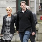 Sean Quinn Jr and his wife Karen Woods leave the High Court this afternoon after his three-month jail term for contempt was completed in Mountjoy training unit and the High Court adjourned the case against him and his father for two weeks. (Photo: Laura Hutton/Photocall Ireland)
