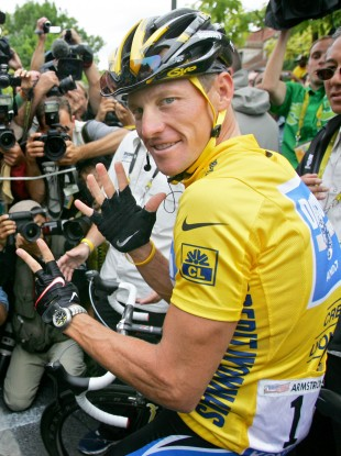 Lance Armstrong in Nike gear after his last Tour de France win.