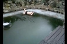 """Mein Arse"": German guy snots himself trying to jump through ice"