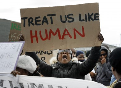 Asylum seekers protest at Mosney centre in 2010 (File photo)