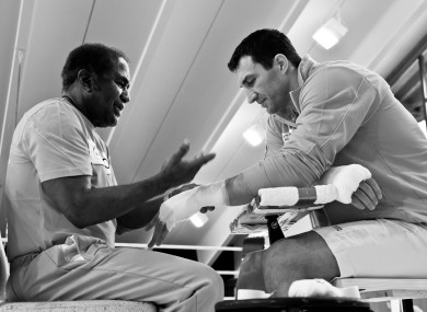 Ukraine's Wladimir Klitschko with trainer Emanuel Steward during a training session.