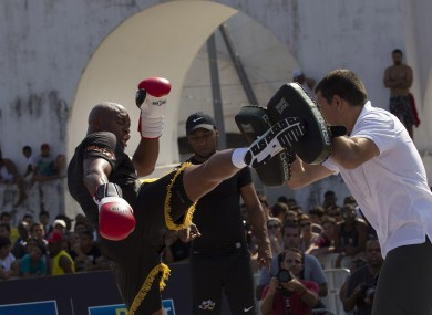 Anderson Silva trains during open workouts in Rio.