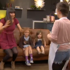 People lepping off the couches is probably our favourite bit. Catriona's apron got the required reaction.