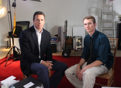 ABC News' Chris Cuomo, left, with Aaron Fisher, 18, a victim of former Penn State assistant football coach Jerry Sandusky yesterday.