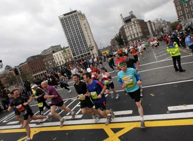Competitors cross O'Connell Bridge last year.