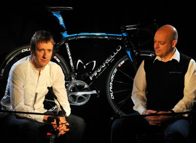 Team Sky leader Bradley Wiggins and with team principal Dave Brailsford.