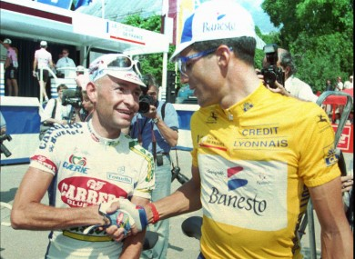 Indurain, right, with the late  Marco Pantani in 1995.