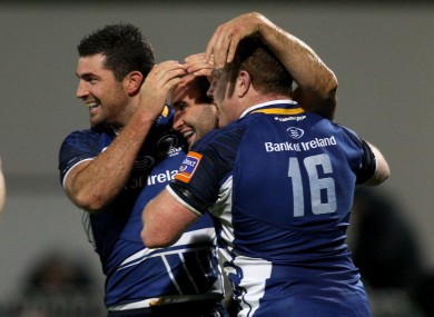 Rob and Dave Kearney celebrate a Leinster try with Sean Cronin (right).
