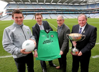 Declan Walsh (left) pictured at the launch of Match for Michaela in Croke Park yesterday.