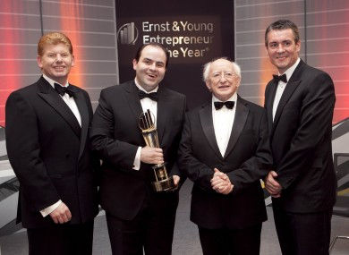 From left to right: Mike McKerr, Managing Partner at Ernst and Young, winner Edmond Harty, Irish President Michael D Higgins and Frank O'Keeffe, Parner in Charge of the programme.