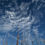 Masts of classic yachts, are seen in the harbour of Cannes, southeastern France, during the 34th Royal Regatta of Cannes. The Royal Regatta brings more than 100 yachts into the bay of Cannes. (AP Photo/Lionel Cironneau)