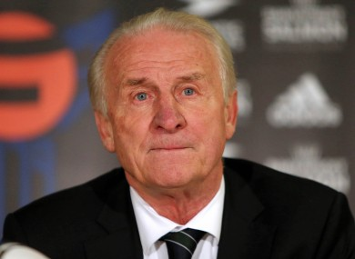 Trapattoni faces the press last night.