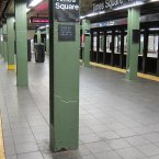 Times Square is usually the busiest station in the subway system. As of 7pm last night, it's abandoned entirely. (Metropolitan Transportation Authority/Aaron Donovan)