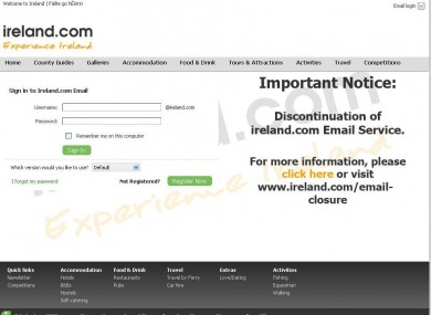 The ireland.com email service homepage