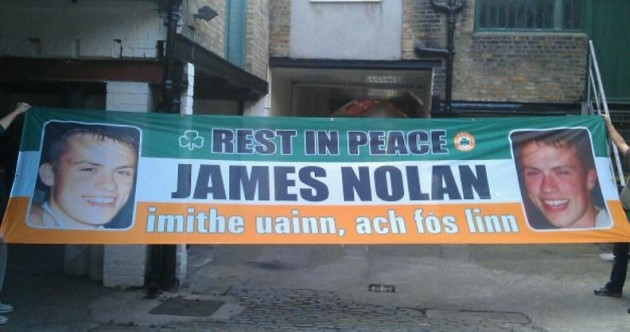 Pic of the day: Banner in memory of Irish supporter James Nolan