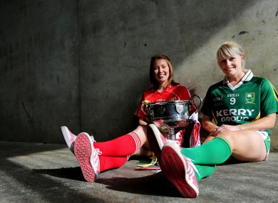 Rena Buckley of Cork with Bernie Breen of Kerry who contest the senior final tomorrow.