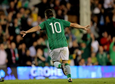 Young gun: Robbie Brady celebrates a goal in last month's friendly against Oman.