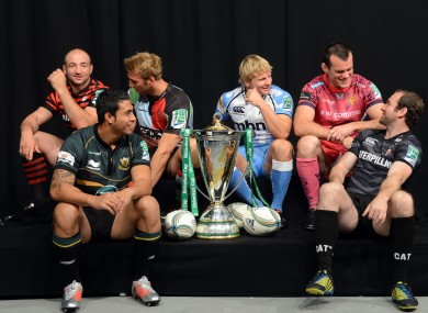 Saracens' Steve Borthwick, Northampton Saints' George Pisi, Harlequins' Chris Roshaw, Sale Sharks' Dave Seymour, Exeter Chiefs' Tom Hayes and Leicester Tigers' Geordan Murphy during the 2012 Heineken Cup Launch at the Sky Studios.