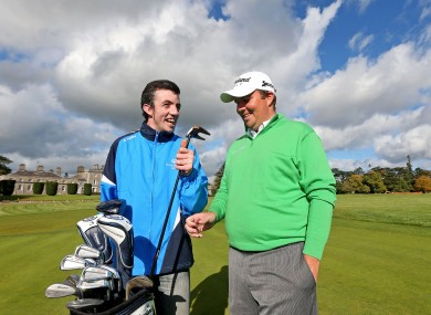 Special Olympics Ireland ambassador Shane Lowry with one of the athletes at Carton House yesterday.