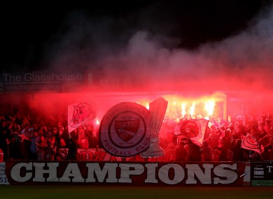Sligo fans light flares at the Showgrounds.