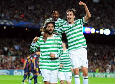 Celtic's Giorgos Samaras (left), Efe Ambrose (centre) and Mikael Lustig.