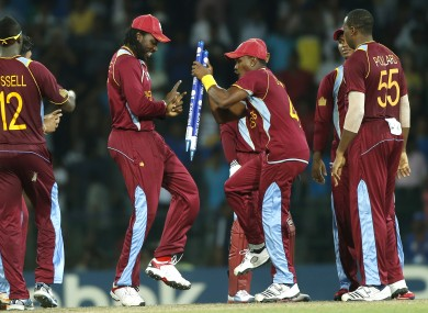 Chris Gayle and Dwayne Bravo dance a jig after their side's semi-final win.