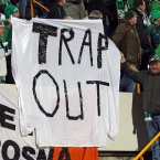 Irish supporters make their feelings known during the win over the Faroe Islands in Torshavn.