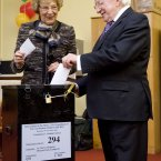 President Michael D Higgins and his wife Sabina cast their votes in the Children's Referendum in the Phoenix Park in Dublin. Photo: Laura Hutton/Photocall Ireland