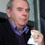 Seán Quinn looking sad (at a rally in support of Quinn family in Co. Cavan). 