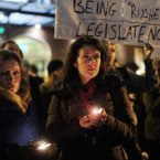 Members of the public gathered outside Leinster House this evening calling for legislation to be introduced to deal with the issue of abortion after the death of Savita Halappanavar. Photo: Laura Hutton/Photocall Ireland