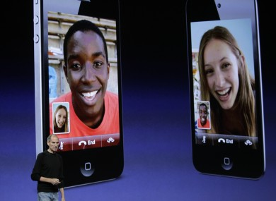 Late Apple CEO Steve Jobs presenting FaceTime on iPod Touch.  Wednesday, Sept. 1, 2010.