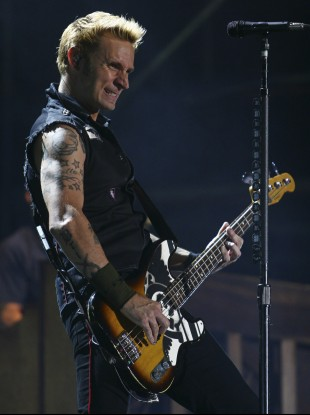 Bassist and backing vocalist Mike Dirnt of Green Day.
