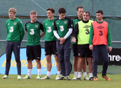 Some of the players go through a drill with assistant manager Marco Tardelli yesterday.