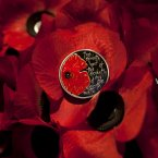 The Royal Mint'€™s first commemorative £5 coin for Remembrance Day rests on the grave of the Unknown Warrior at the Nave in Westminster Abbey, London. (David Parry/PA)