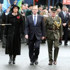 Taoiseach Enda Kenny (centre) with Stormont Minister Arlene Foster (left) attending a commemoration ceremony at Enniskillen cenotaph.