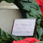 The historic message on Taoiseach Enda Kenny's wreath.