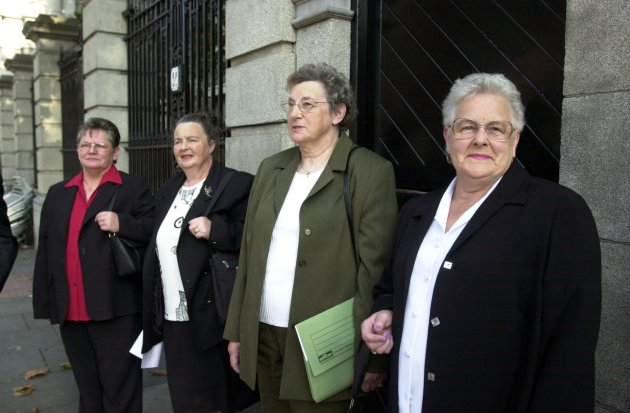 Representatives of Suvivors of Symphysiotomy Elaine Murphy with Rose McGee, Matilda Behan and Claire Kavanagh outside the Dail before meeting Minister for Health to ask him to establish an enquiry into the procedure of Symphysiotomy which was carried out