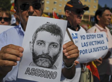Relatives of people thought to have been killed by the Basque armed separatist group ETA, protest against the release from jail of ETA member, Josu Uribetxeberria in September